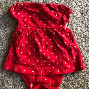 Red heart dress with matching sweater